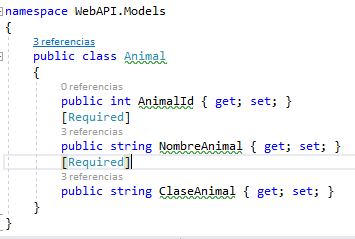 Clase modelo con campos requeridos para producir error en la vista: Animal