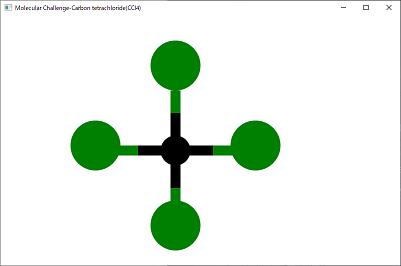 Screen shot of a program Mokecular Challenge-Carbon tetrachloride(CCl4)