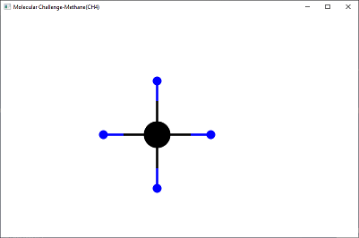 Screen shot of a program Molecular Challenge-Methane(CH4)