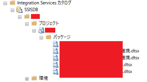 SSISDB内のパッケージ