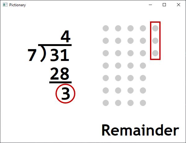 Screen shot of a program Pictionary - Remainder v1.3.0