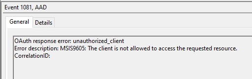 OAuth response error: unauthorized_client