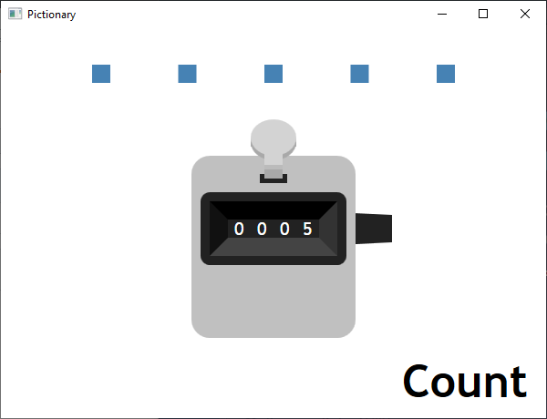 Screen shot of a program Pictionary - Count
