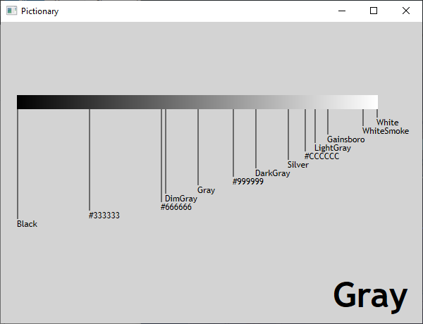 Screen shot of a program Pictionary - Gray