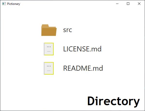 Screen shot of a program Pictionary - Directory