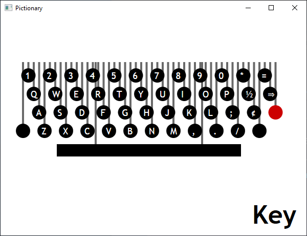 Screen shot of a program Pictionary - Key