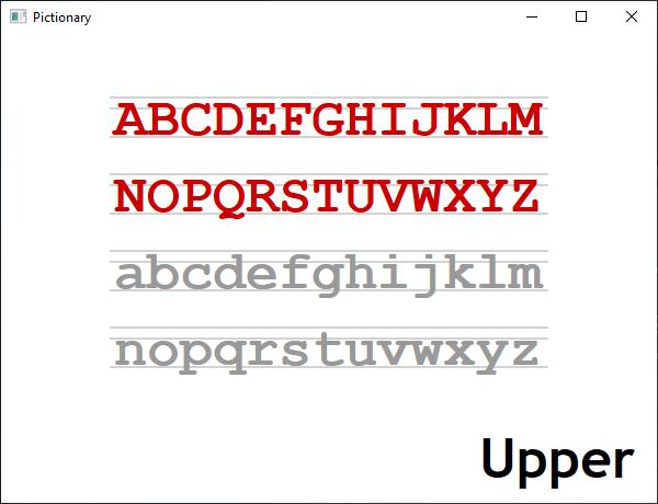 Screen shot of a program Pictionary - Upper