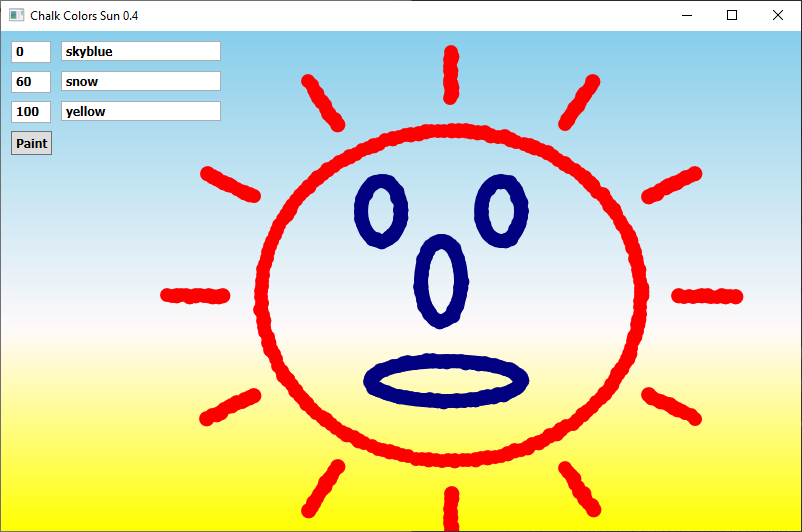 Screen shot of a program Chalk Colors Sun 0.4