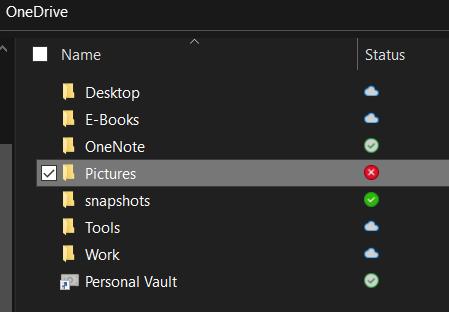 OneDrive error status
