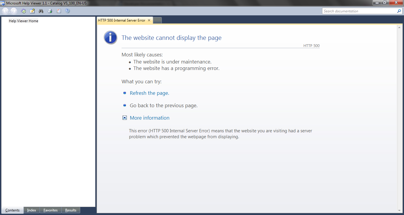 HelpViewer says 'The website cannot display the page ...'