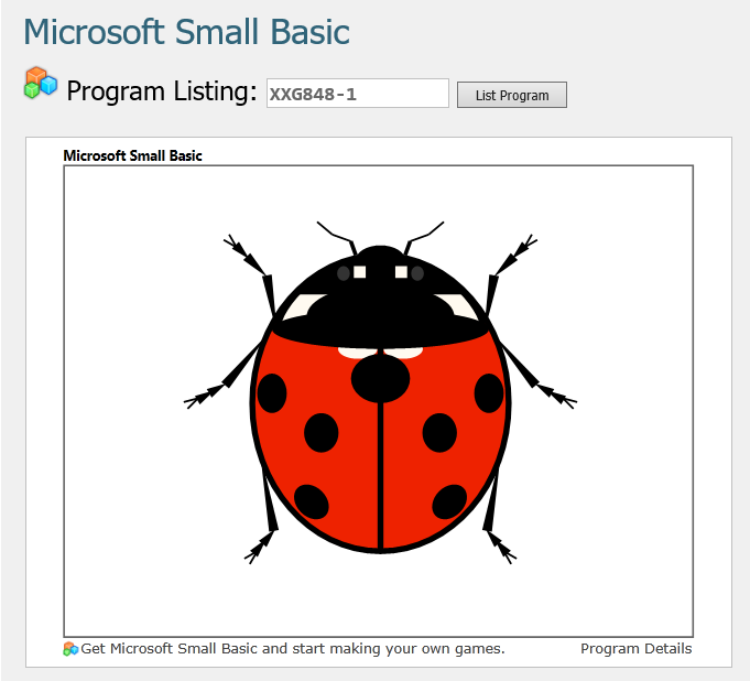 Screen shot of a program Lady Bug 0.2.1 in SBS
