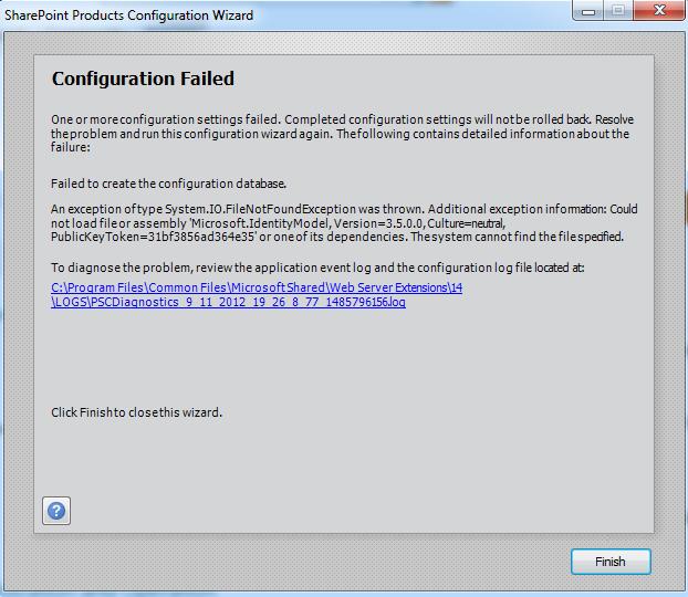 Error Log: SharePoint Products Configuration Wizard Error