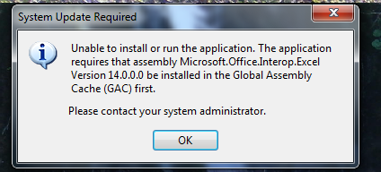 Application requires that assemblyMicrosoft Office Interop