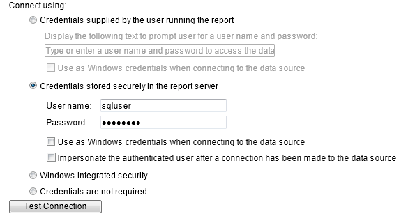 Test Connection fails - Credentials stored securely in the reports server