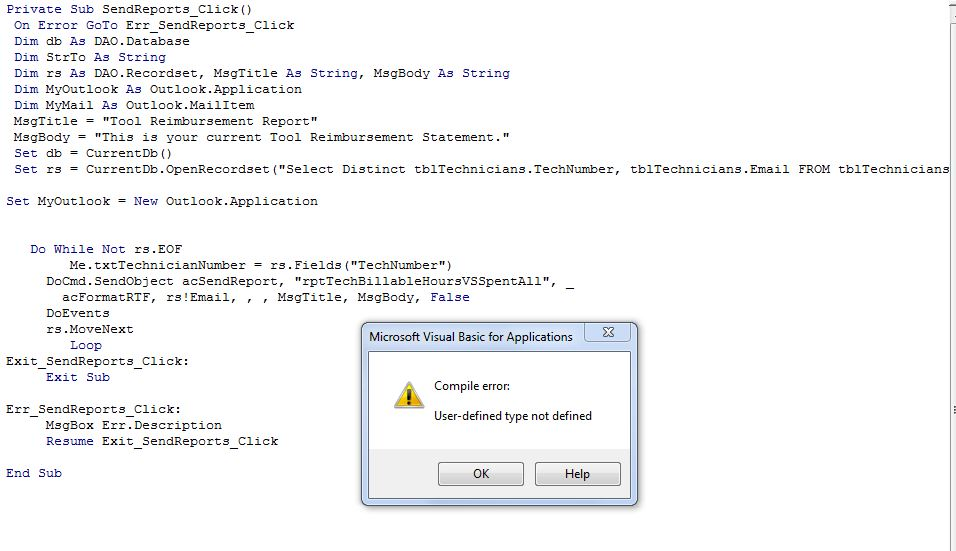 Sending Reports to Multiple Recipients from Access 2010 Using