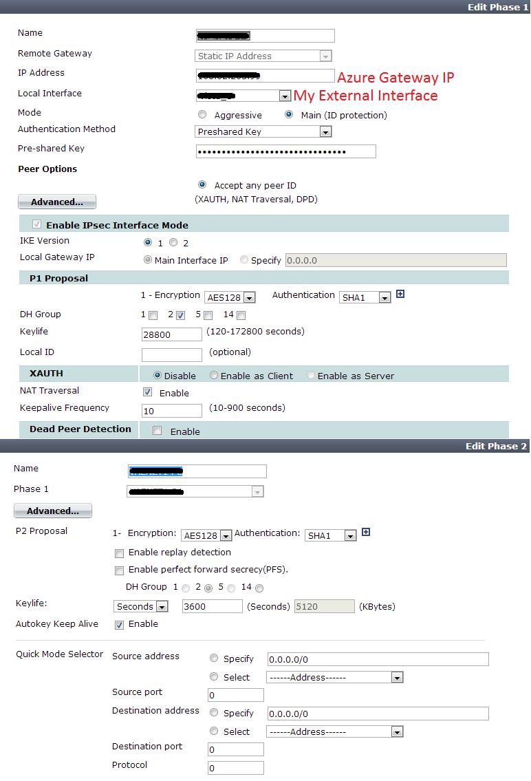 Azure Virtual Network to FortiGate 110c