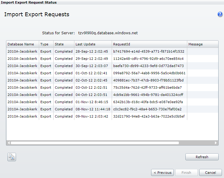 Import Export Request in the old portal