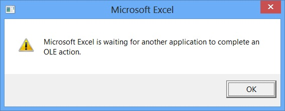 microsoft excel is waiting for another application to complete an ole action word