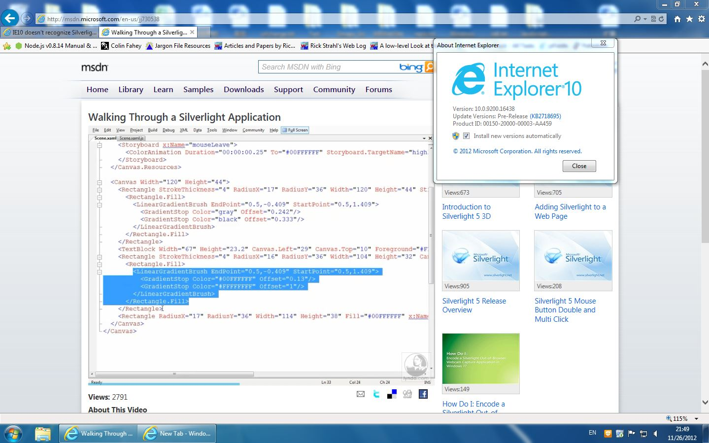 IE10 doesn't recognize Silverlight using Windows 7