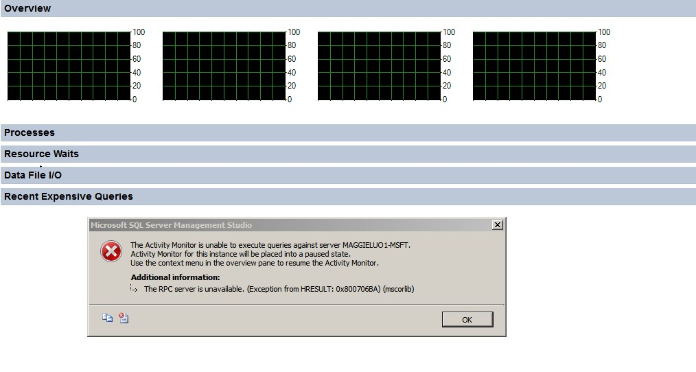after installing sp1 sql server 2012 activity monitor gives access