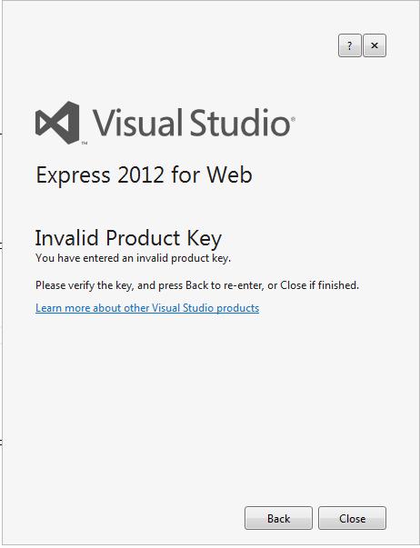 visual studio express key