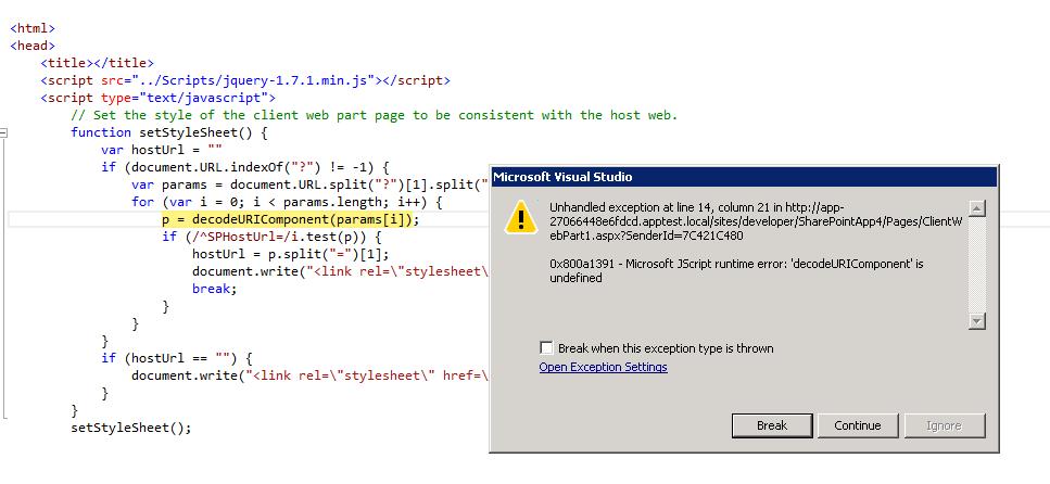Client Web Part JavaScript Error Preview 2