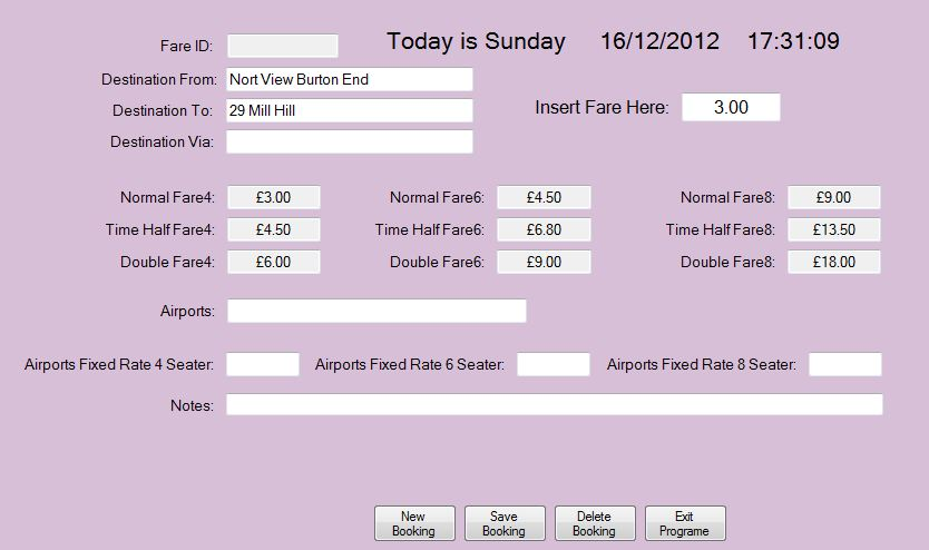 Fares Form after Insert fare textBox has fare in it