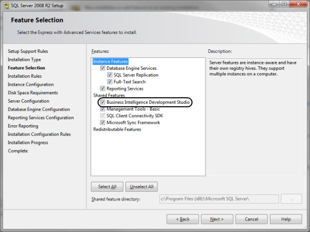 SQL Server 2008 R2 Setup Feature Selection