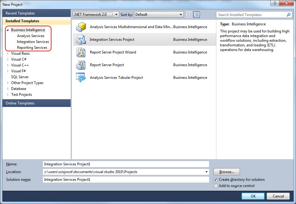 What is the issue with ssdt when you create a new project in visual studio 2010ssdt do you see the business intelligence templates flashek Images