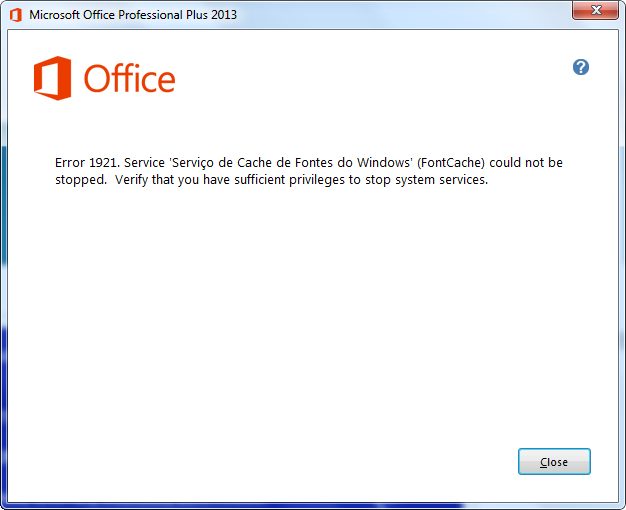 Error 1921 when updating