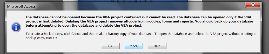 why this error : the Database cannot be opened because the VBA