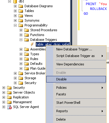 Why cant I (or can I) disable Server Objects Trigger in SSMS