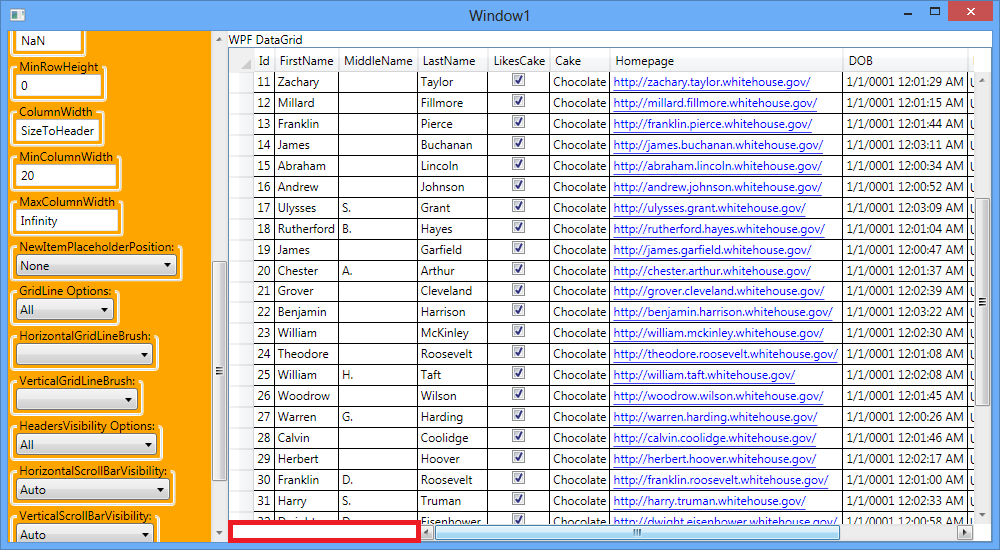 WPF Datagrid: When Frozen Columns, add any control at the Horizontal