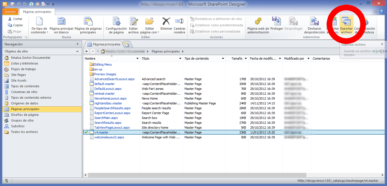 export masterpage