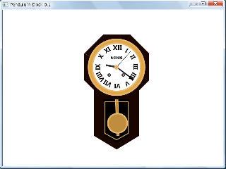 Screen shot of a program Pendulum Clock 0.1