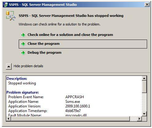 SQL 2008 R2 Management studio crashes