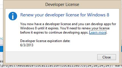 strange message after acquire license in vs2012