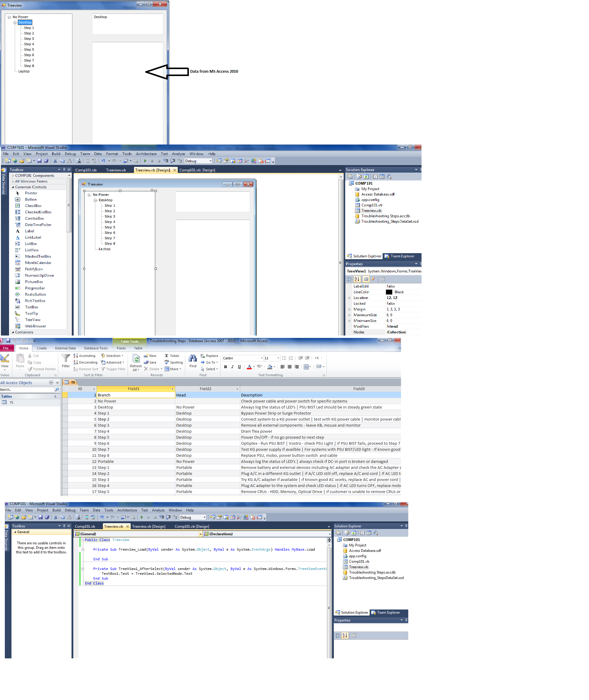 Populating data from MS Access 2010 to VB net 2010 treeview