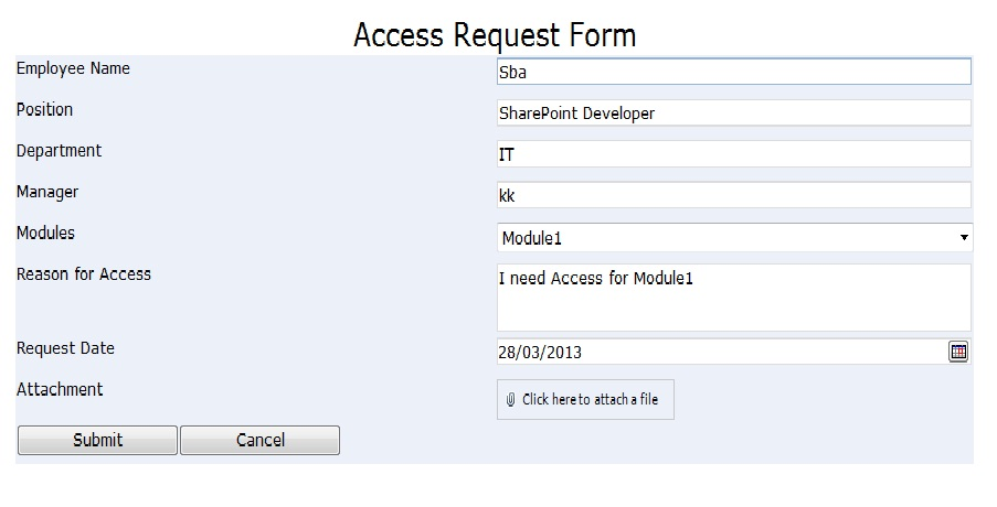Access request approval workflow sharpoint 2010 for User access request form template