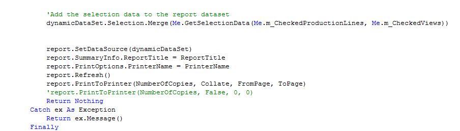 VB.Net Code uesd to print crystal report
