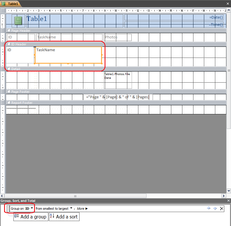 Display image file from a list of attachments from a report