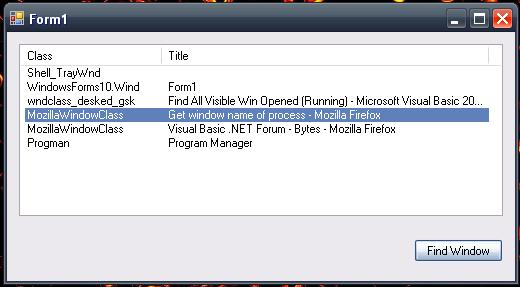 Get window name of process