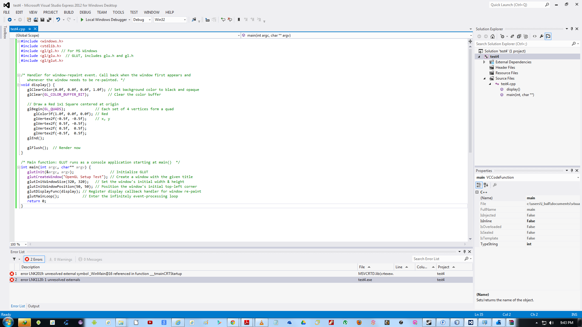 Configuring opengl in windows 7 on the microsoft visual studio i have downloaded and installed and followed these procedures as below can anyone help me if i have gone wrong biocorpaavc