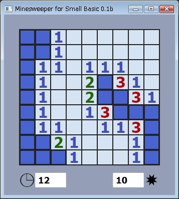 Screen shot of a program Minesweeper for Small Basic 0.1b