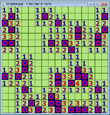 Screen shot of a Minesweeper