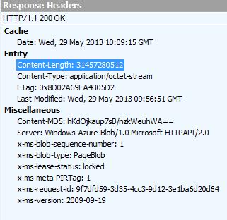 Response from Azure REST API