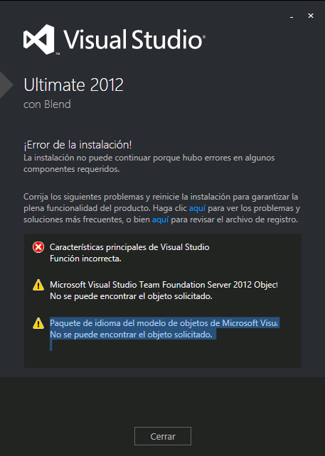 Error de Instalación Visual Studio 2012