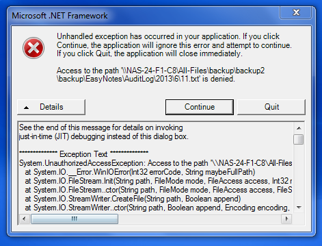 NET 1 1 denied access to Linux File Server