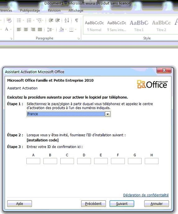 Nouvelle demande d 39 activation de office 2010 famille - Cle activation office 2010 famille et petite entreprise ...