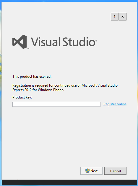 registration key visual studio 2012 express